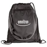 Black Printed The Peek Drawstring Cinch Backpack