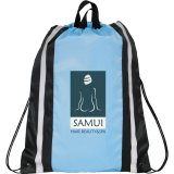Light Blue Printed Reflective Drawstring Cinch Backpack