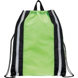Lime Green Reflective Drawstring Cinch Backpack
