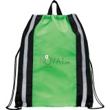 Lime Green Reflective Drawstring Cinch Backpack 02