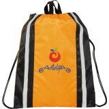 Orange Printed Reflective Drawstring Cinch Backpack