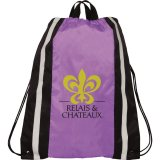 Purple Printed Reflective Drawstring Cinch Backpack