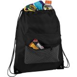 Black Mesh Front Pocket Drawstring Sportspack - Black
