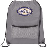 Grey Mesh Front Pocket Drawstring Sportspack - Black
