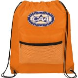 Orange Mesh Front Pocket Drawstring Sportspack - Black