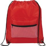 Red Mesh Front Pocket Drawstring Sportspack - Black