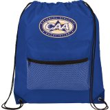 Blue Mesh Front Pocket Drawstring Sportspack - Black