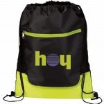 Lime Green Printed The Libra Drawstring Cinch Backpack