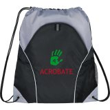 Black Printed The Marathon Drawstring Cinch Backpack
