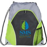 Lime Green Printed The Marathon Drawstring Cinch Backpack