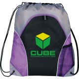 Purple Printed The Marathon Drawstring Cinch Backpack