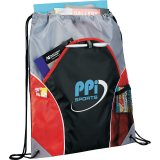 Red Printed Sideways The Marathon Drawstring Cinch Backpack