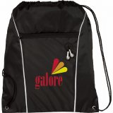 Black Printed The Funnel Drawstring Cinch Backpack