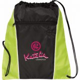 Lime Green Printed The Funnel Drawstring Cinch Backpack
