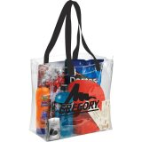 Black Sideways Rally Clear Stadium Tote