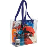 Royal Blue Sideways Rally Clear Stadium Tote