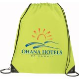 Lime Green Printed Large Oriole Drawstring Cinch Backpack