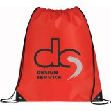 Red Printed Large Oriole Drawstring Cinch Backpack