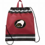 Burgundy Printed The Eagle Drawstring Cinch Backpack 01