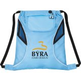 Light Blue Printed Front The Bumblebee Drawstring Cinch Backpack