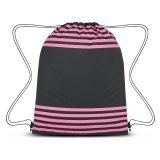 Pink Striped Drawstring Sports Pack