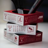 Red/White Sliding Pen Pot Calendar