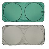 Green and Silver Car Sun Shade