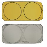 Yellow and Silver Car Sun Shade