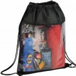 Black Printed The Guide Clear Drawstring Cinch Backpack