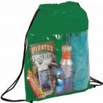 Green Printed The Guide Clear Drawstring Cinch Backpack