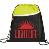 Lime Green Printed The Slant Drawstring Cinch Backpack