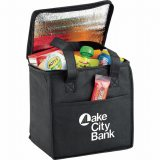 Open view decorated black The Cube Cooler Bag