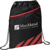 Red Decorated Front View Flash Drawstring Sportspack