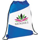 Blue/White The Pennant Drawstring Cinch Backpack