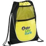Lime Green Printed The Locker Drawstring Cinch Backpack