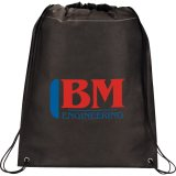 Black Printed Large Champion Drawstring Cinch Backpack