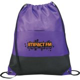 Purple Printed The West Coast Drawstring Cinch Backpack