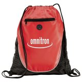 Red Printed The Peek Drawstring Cinch Backpack