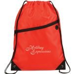 Red Printed The Robin Drawstring Backpack