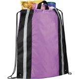 Purple Sideways Reflective Drawstring Cinch Backpack