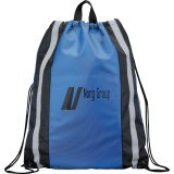 Royal Blue Printed Reflective Drawstring Cinch Backpack
