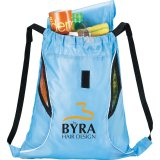 Light Blue Front The Bumblebee Drawstring Cinch Backpack
