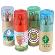 Coloured Pencils In Cardboard Tube With Sharpener With Print
