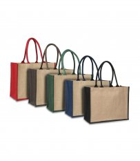 Laminated Jute Supermarket Bag with Coloured Handles and Gussets