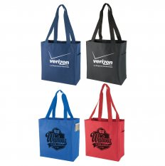 600D Polyester Tote Bag w/Side Pocket