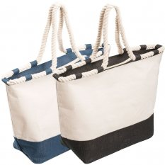 Zippered Laminated Canvas Tote Bag