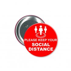 Social Distancing Button Badge