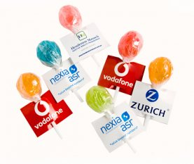 Ball Lollipop with Printed Card (Mixed Colours)